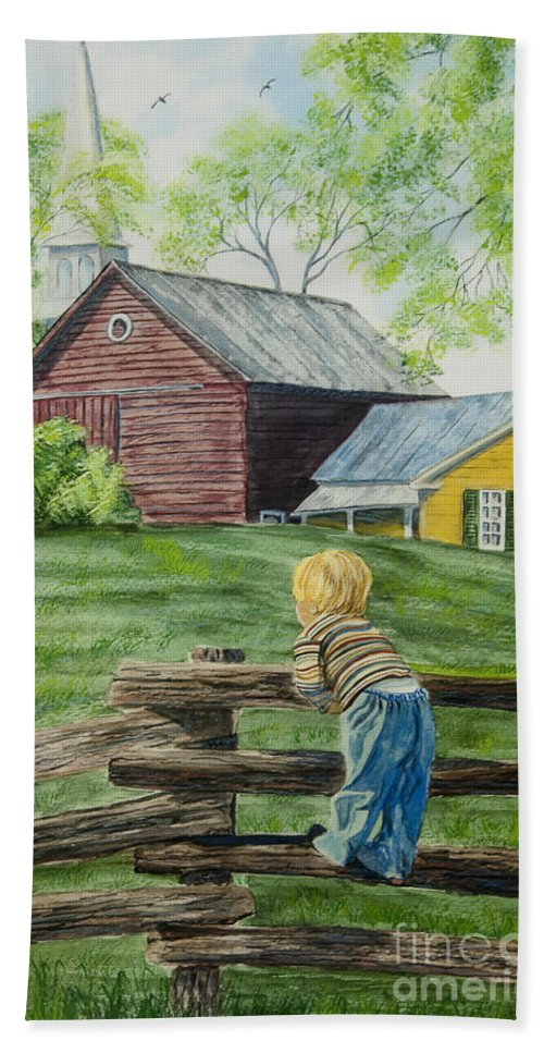 Country Kids Art Beach Towel featuring the painting Farm Boy by Charlotte Blanchard