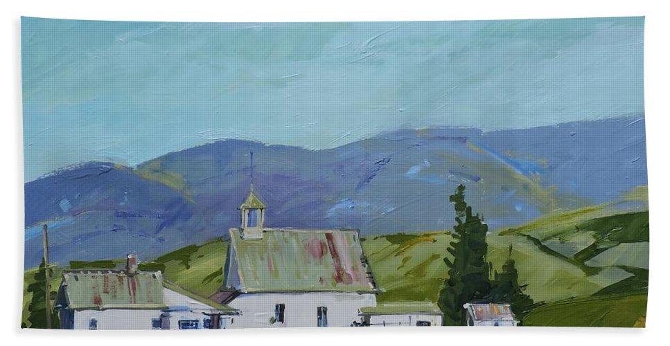 Farm Beach Towel featuring the painting Farm Buildings by Richard Szkutnik