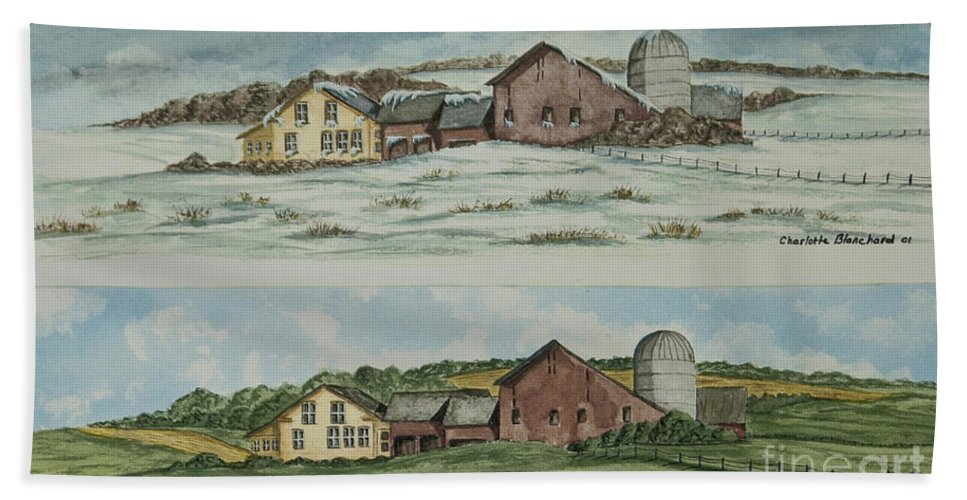 Winter Beach Towel featuring the painting Farm Of Seasons by Charlotte Blanchard