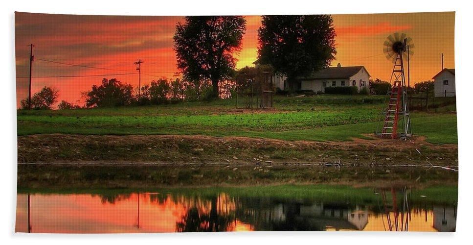 Farm Beach Towel featuring the photograph Farm Sunset by Farol Tomson