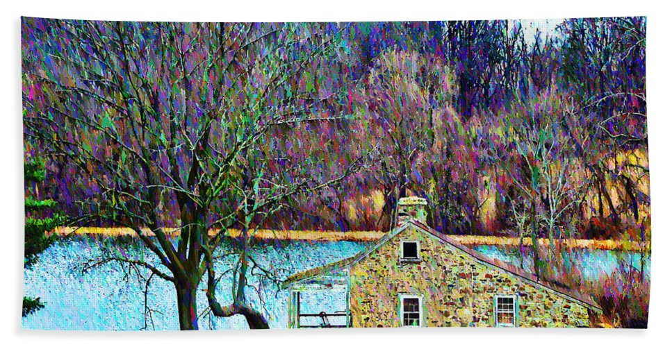 Farm Beach Towel featuring the photograph Farmhouse By The Lake by Bill Cannon