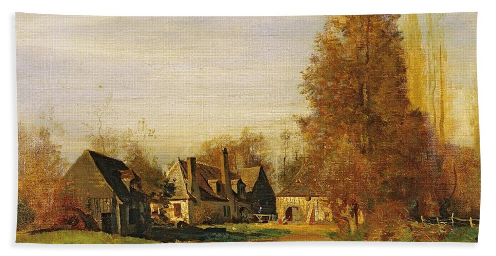 Farmyard Beach Towel featuring the painting Farmyard by Francois Louis Francais