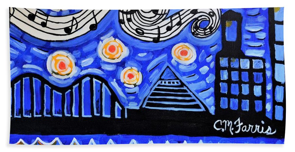 Landscape Beach Towel featuring the painting Memphis Nights by Christopher Farris
