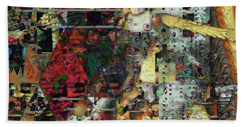 Colorful Beach Towel featuring the digital art Fascinating Rythm by Mike Butler