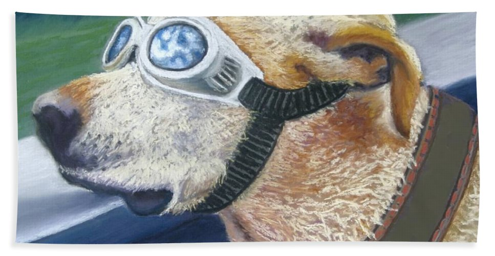Golden Labrador Beach Towel featuring the painting Fast And Furious by Minaz Jantz