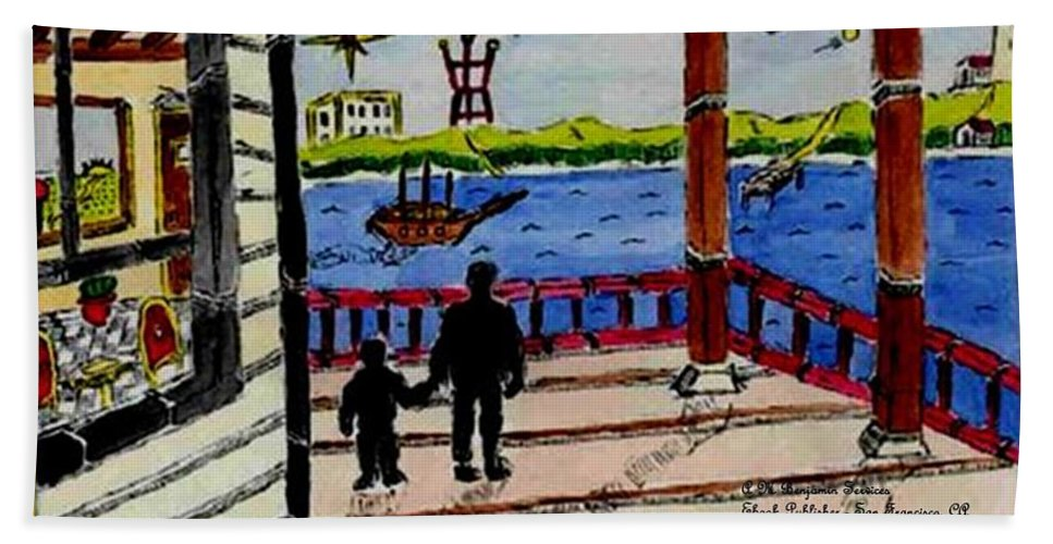 Boy Beach Towel featuring the painting Father And Son On The Porch by Anthony Benjamin