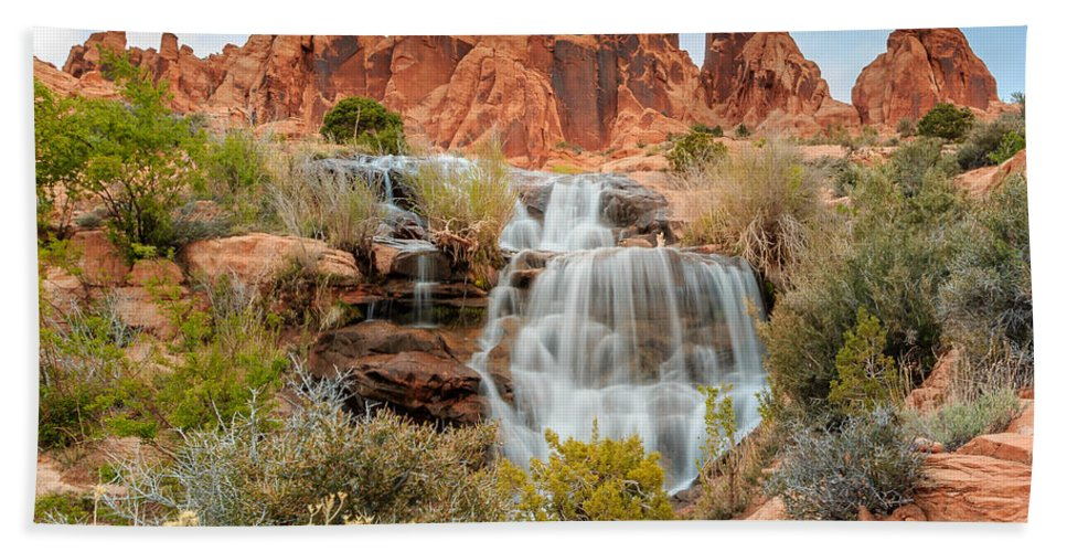 Landscape Beach Towel featuring the photograph Faux Falls by Gina Herbert
