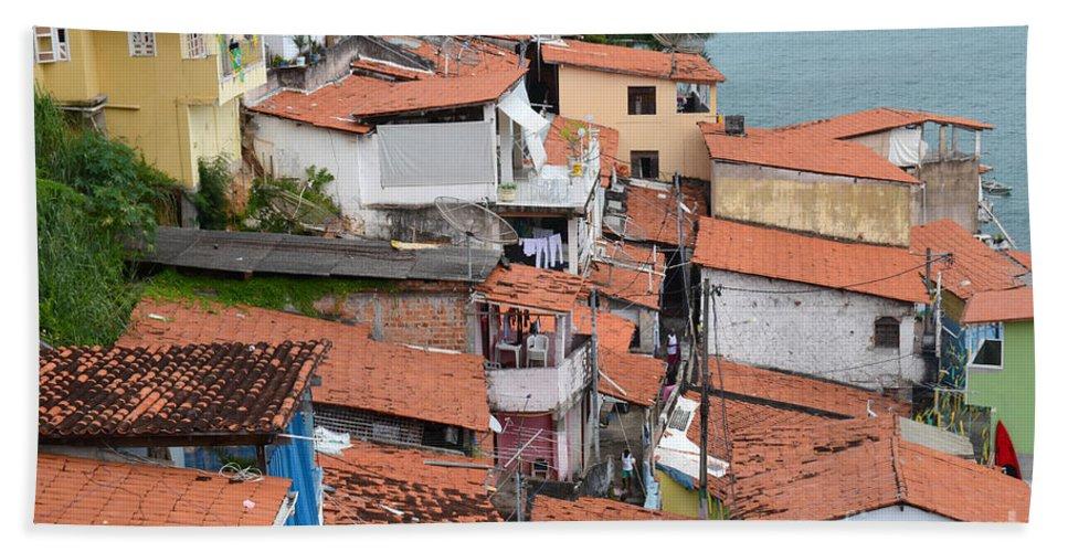 Salvador Beach Towel featuring the photograph Favela In Salvador Da Bahia Brazil by Ralf Broskvar