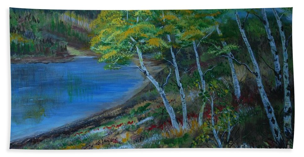 Lake Painting Beach Towel featuring the painting Favorite Fishin' Hole by Leslie Allen