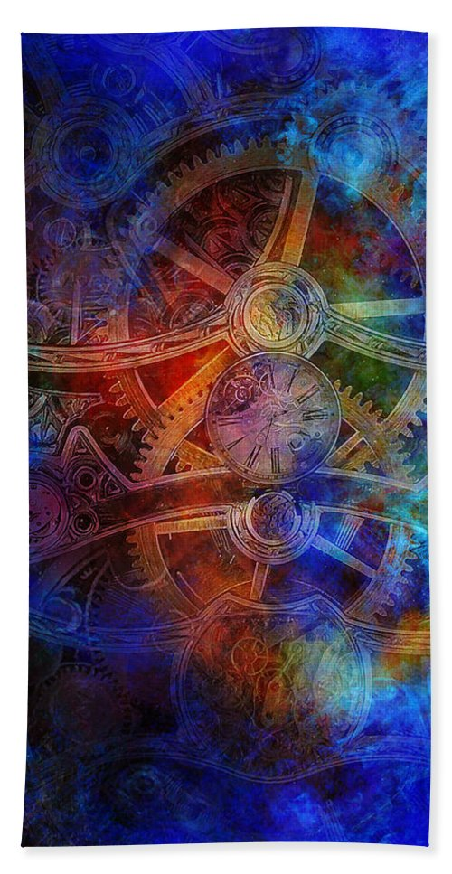 Clock Gears Machinery Beach Towel featuring the digital art Fcp-51 by Fred Caputi Design Portfolio