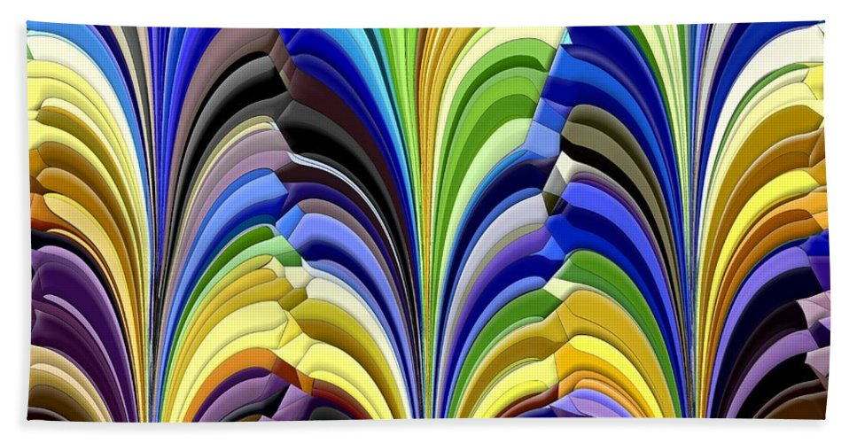 Abstract Beach Towel featuring the digital art Feathered Friends by Tim Allen
