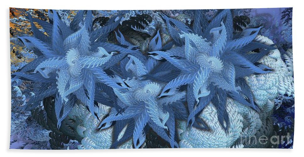 Abstract Beach Towel featuring the digital art Feathery by Ron Bissett