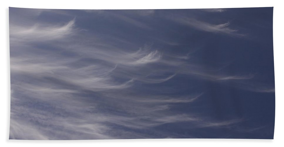 Sky Blue Clouds White Feather Photography Photograph Beach Towel featuring the photograph Feathery Sky by Shari Jardina