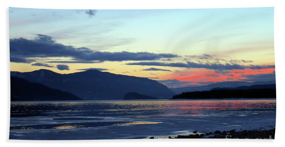 Sunset Beach Towel featuring the photograph February At Dusk by Victor K