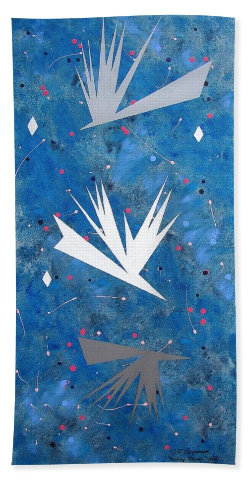 Birds And Diamond Stars Beach Towel featuring the painting Feeding Frenzy by J R Seymour