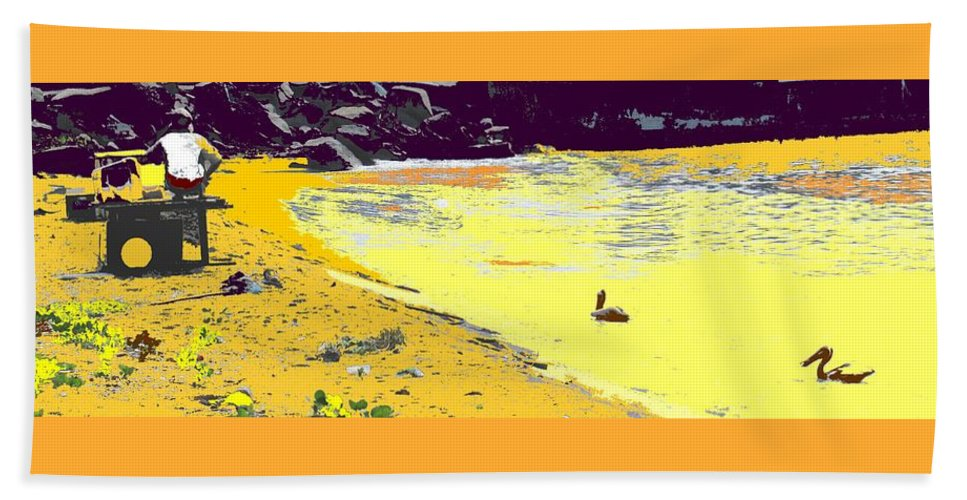St Kitts Beach Towel featuring the photograph Feeding The Pelicans by Ian MacDonald
