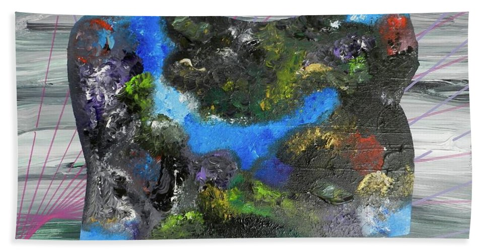Abstract Beach Towel featuring the painting Feeling Divine by Muneer McAdams-Mahmoud