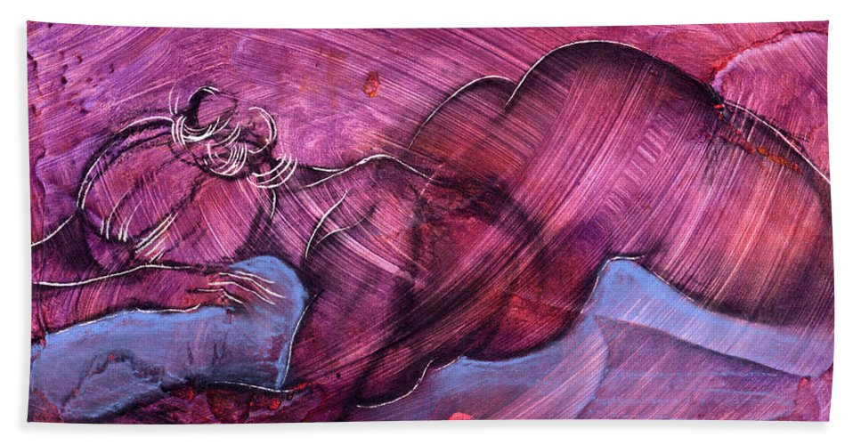 Nude Beach Sheet featuring the painting Feeling Sensuous by Richard Hoedl