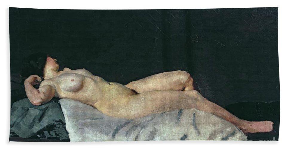 Female Figure Lying On Her Back Beach Towel featuring the painting Female Figure Lying On Her Back by Dora Carrington