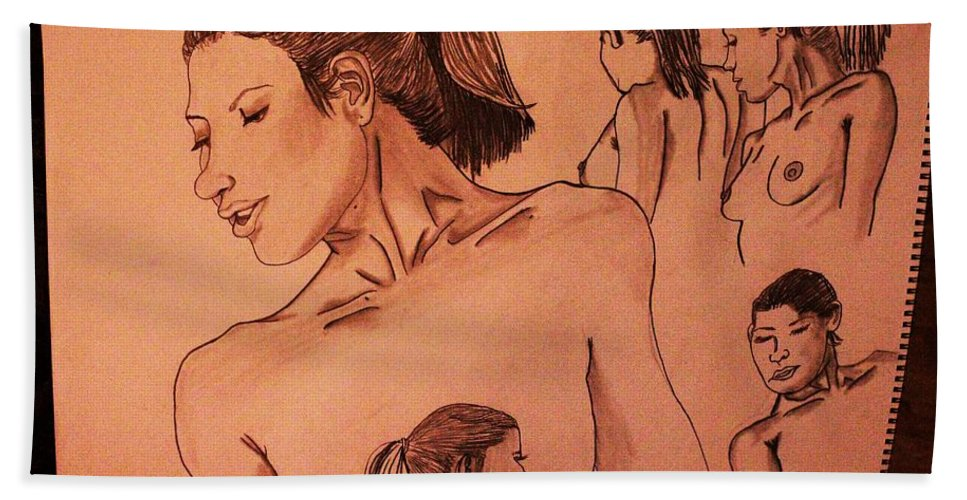 Female Figure Drawing Beach Towel featuring the drawing Female Figures by Adam Norman