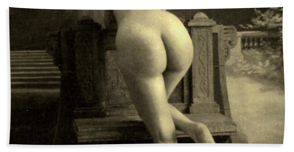 Nude Beach Sheet featuring the photograph Female Nude, Circa 1900 by French School