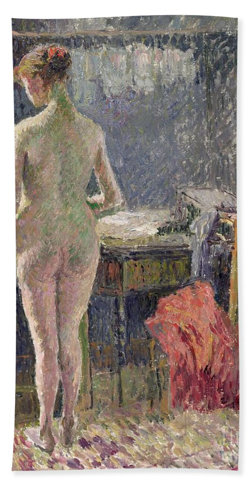 Behind; Full Length; Interior; Impressionist; Rear View Beach Towel featuring the painting Female Nude Seen From The Back by Camille Pissarro