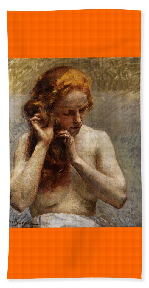 Vlaho Bukovac Beach Towel featuring the painting Female Nude with Red Hair by Vlaho Bukovac