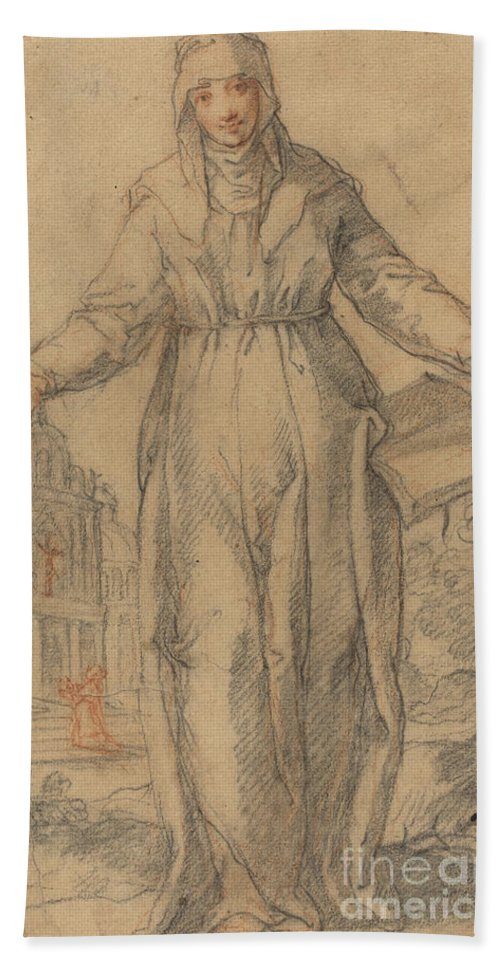 Beach Towel featuring the drawing Female Saint (saint Clare Of Assisi Or Saint Catherine Of Siena?) by Italian 17th Century