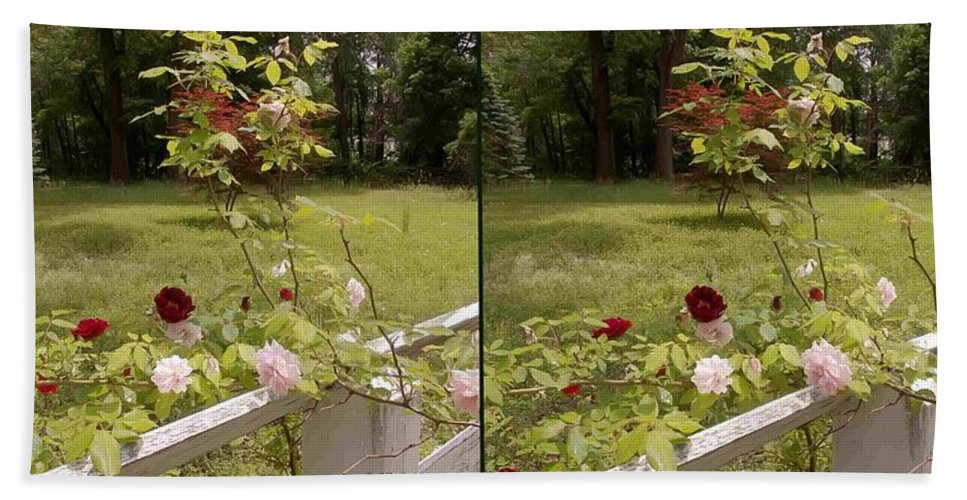3d Beach Towel featuring the photograph Fence Full Of Roses - Cross Your Eyes And Focus On The Middle Image by Brian Wallace