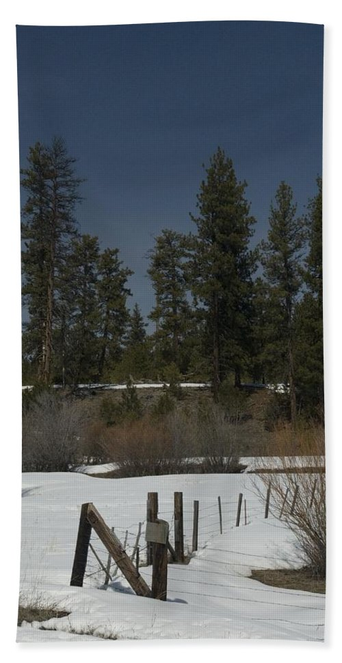 Fence Beach Towel featuring the photograph Fence In Snow by Sara Stevenson