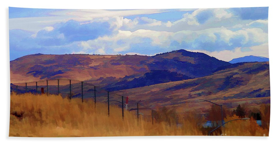 Wyoming Beach Towel featuring the photograph Fence Views Wyoming Color by Chuck Kuhn