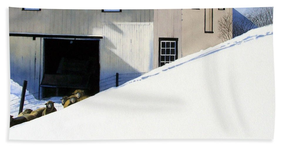 Barn Beach Towel featuring the painting Fenced In by Denny Bond