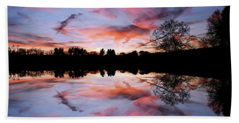 Sunset Beach Towel featuring the photograph Fencing Reflections by Scott B Bennett