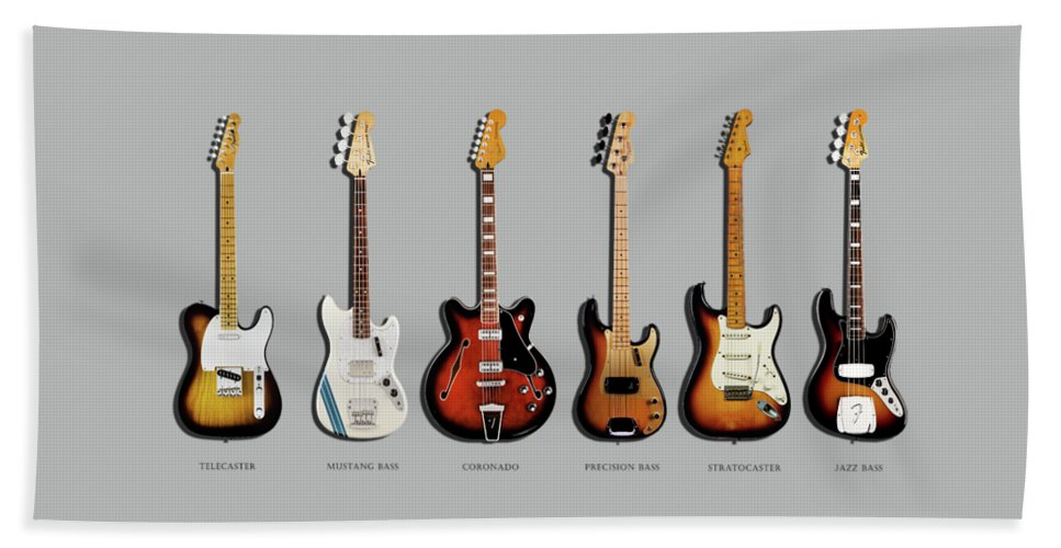 Fender Stratocaster Beach Towel featuring the photograph Fender Guitar Collection by Mark Rogan