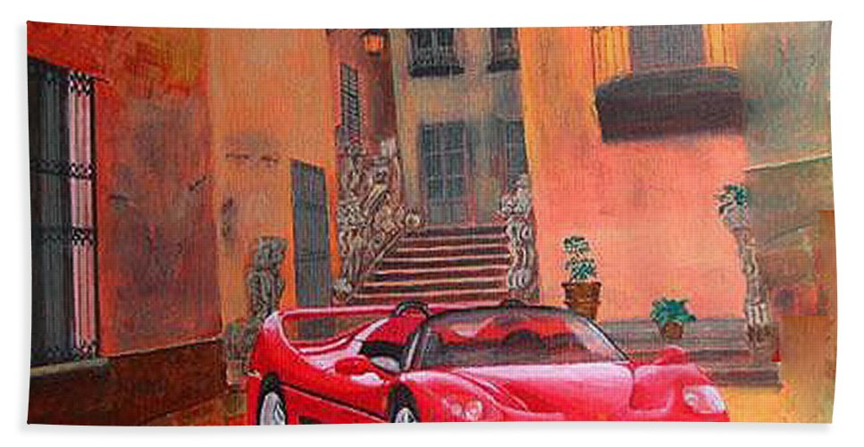 Ferrari Beach Towel featuring the painting Ferrari F50 by Richard Le Page