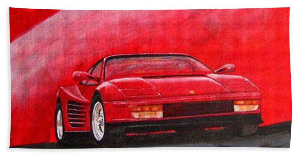 Ferrari Beach Towel featuring the painting Ferrari Testarrossa by Richard Le Page