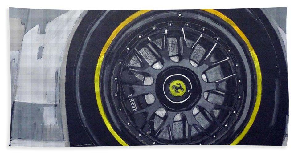 Ferrari Beach Towel featuring the painting Ferrari Wheel by Richard Le Page
