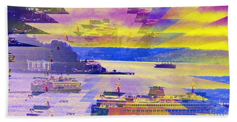 Seattle Beach Towel featuring the photograph Ferries Off Alki by Tim Allen