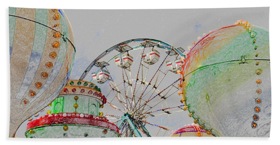 Art Beach Towel featuring the painting Ferris Wheel And Balloons by David Lee Thompson