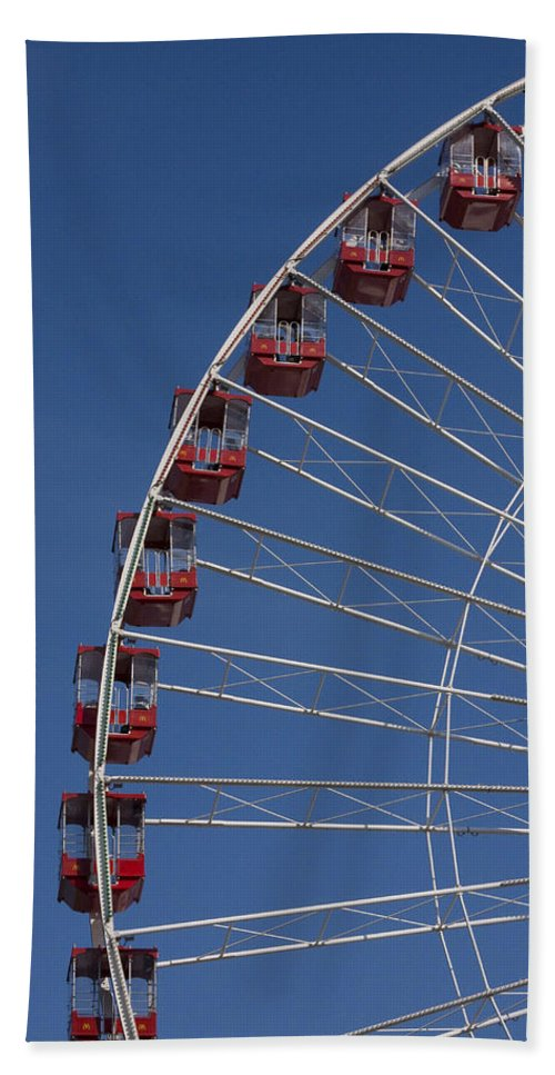 Chicago Navy Pier Windy City Ferris Wheel Attraction Blue Sky Red Tourist Tourism Travel Beach Towel featuring the photograph Ferris Wheel II by Andrei Shliakhau