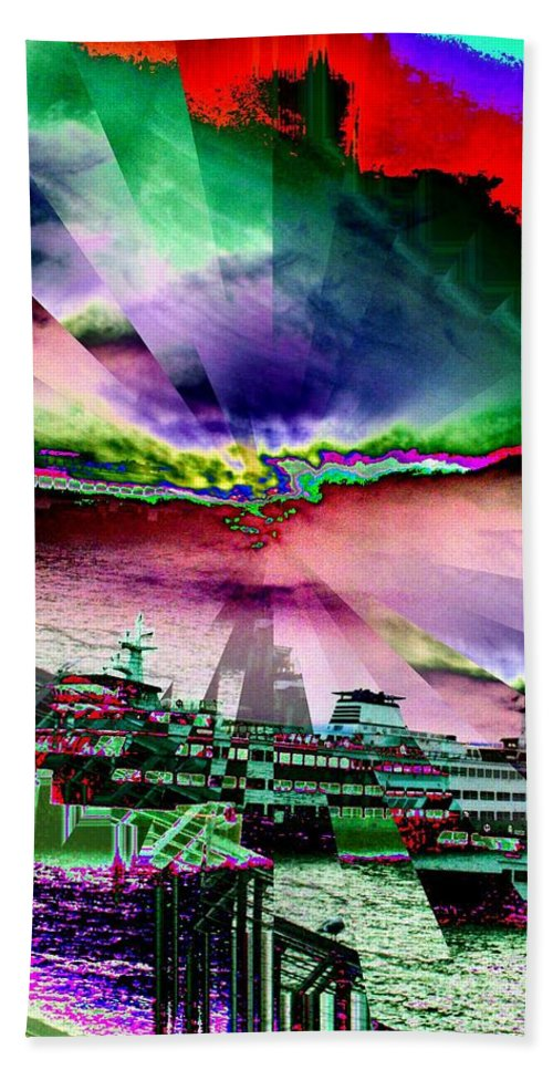 Seattle Beach Towel featuring the digital art Ferry Illusion by Tim Allen