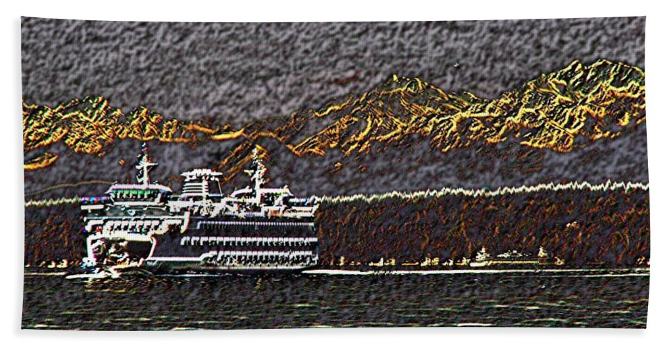 Ferry Beach Towel featuring the digital art Ferry On Elliott Bay 3 by Tim Allen