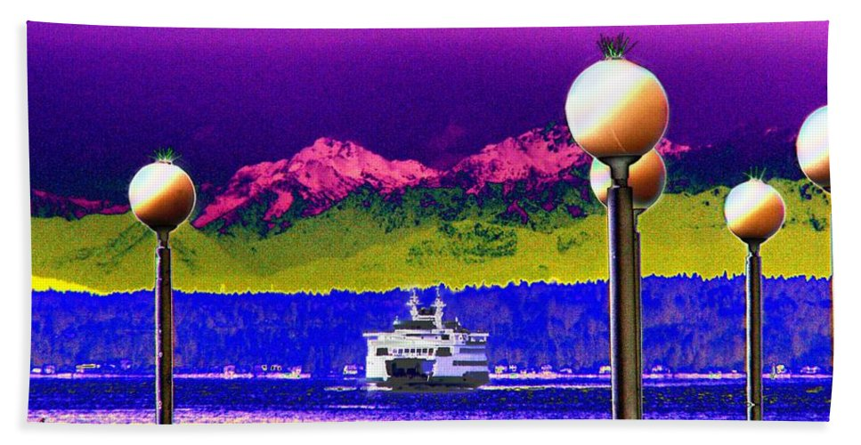 Seattle Beach Sheet featuring the digital art Ferry On Elliott Bay by Tim Allen