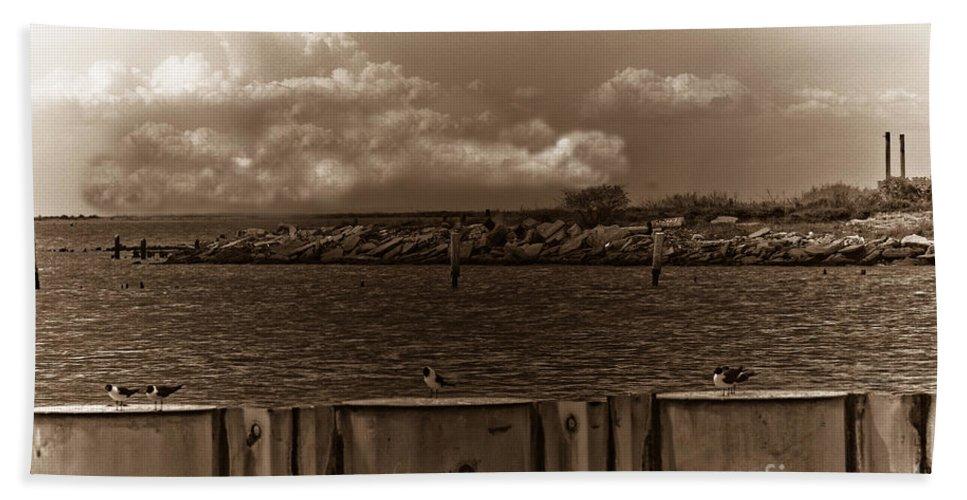 Galveston Texas Beach Towel featuring the photograph Ferry's End by Kim Henderson
