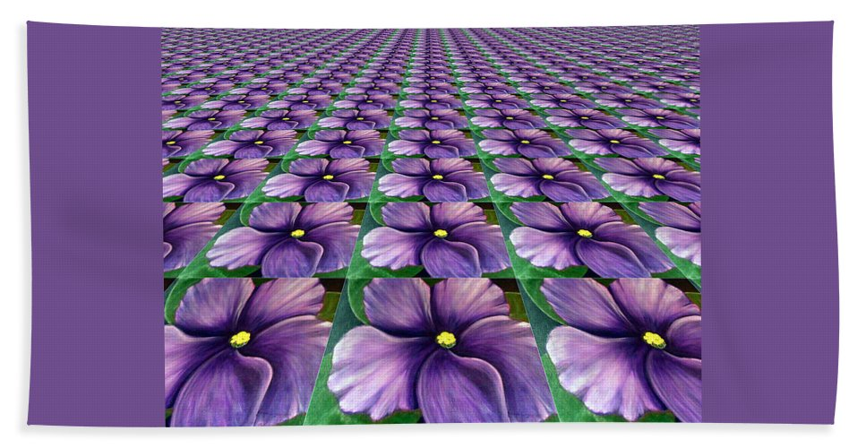 Digital Art Beach Towel featuring the digital art Field Of African Violets by Barbara Griffin