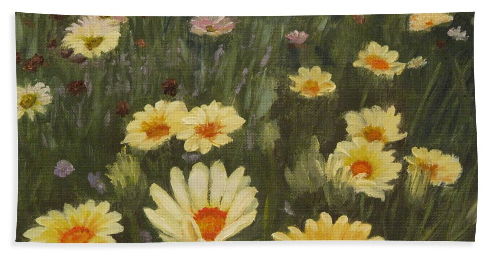 Flower Beach Towel featuring the painting Field Of Flowers by Lea Novak