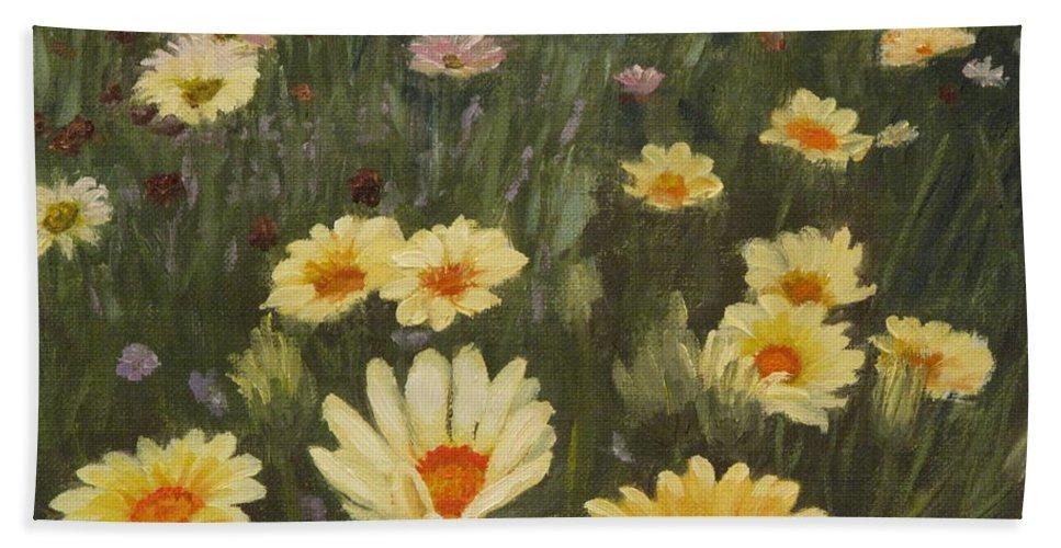 Flower Beach Sheet featuring the painting Field Of Flowers by Lea Novak