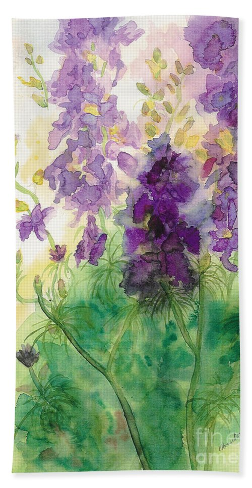Watercolor Beach Towel featuring the painting Field Of Purple by Vicki Housel