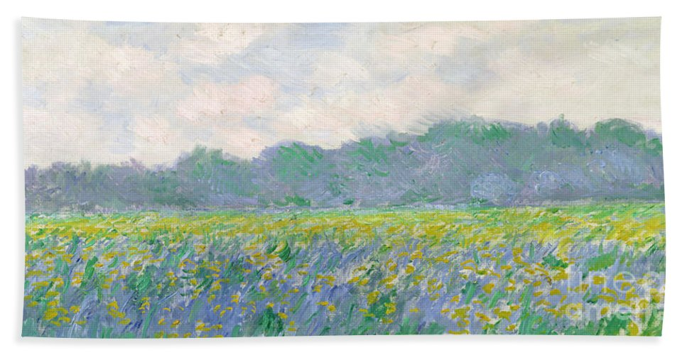 Beach Towel featuring the painting Field Of Yellow Irises At Giverny by Claude Monet