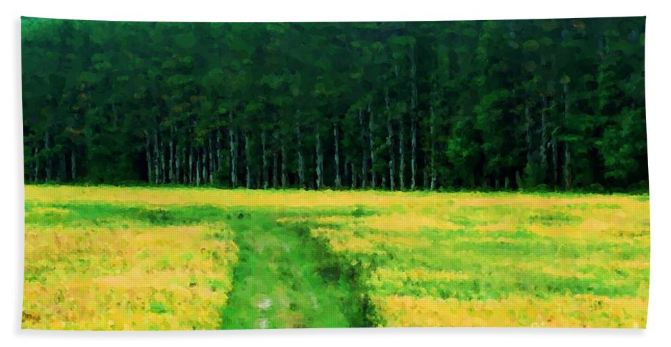 Field Beach Towel featuring the painting Field Of Yellow by Smilin Eyes Treasures